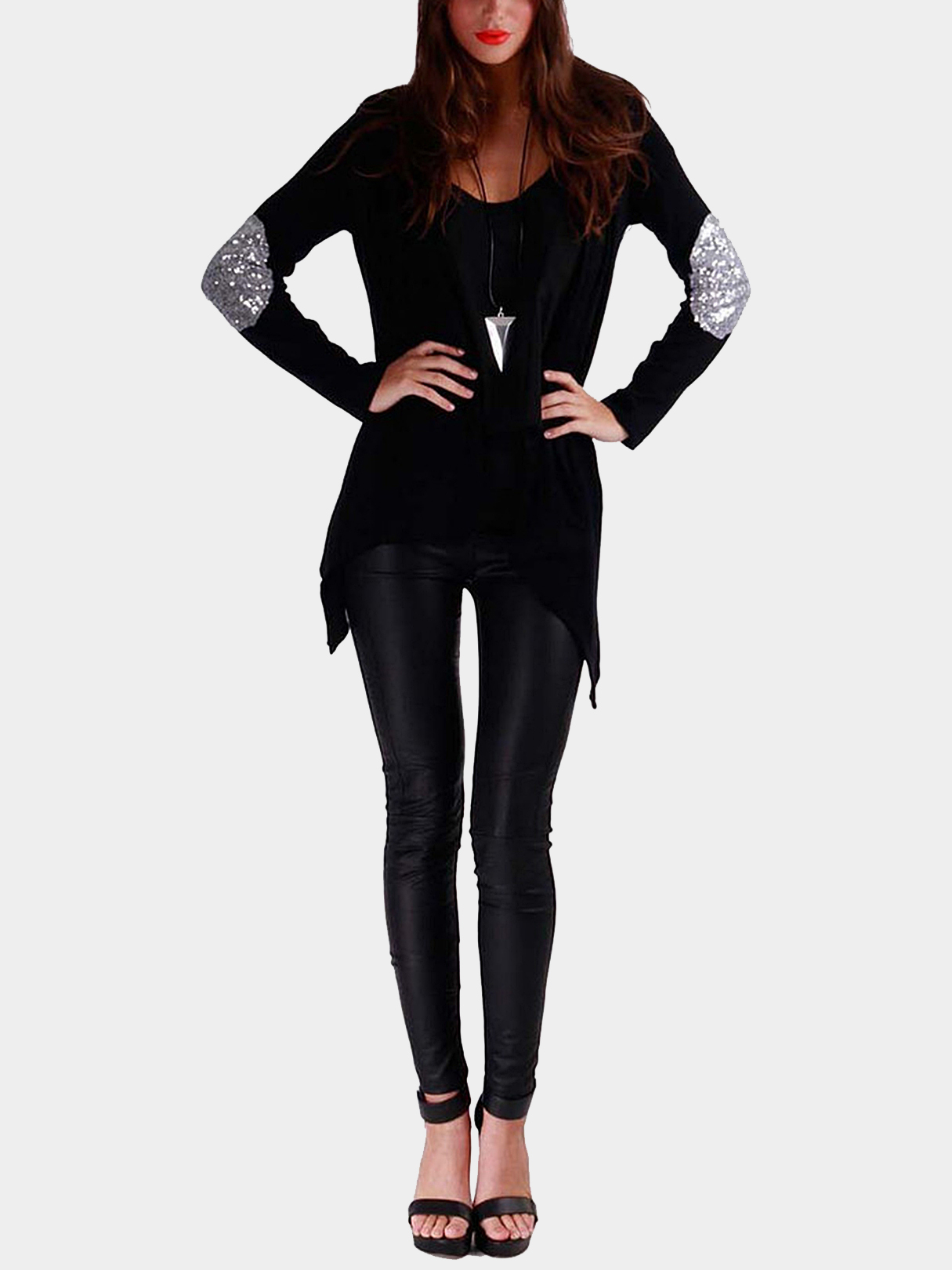 Black Open Front Thin Cardigan with Metallic Glitzy Details