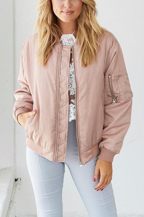 Pink Pockets Zipper Front Bomber Jacket