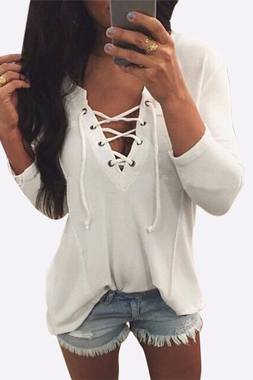V neck lace up front loose t-shirt in white...