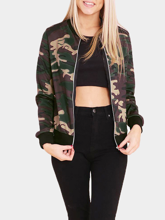 Fashion camouflage pattern bomber jacket