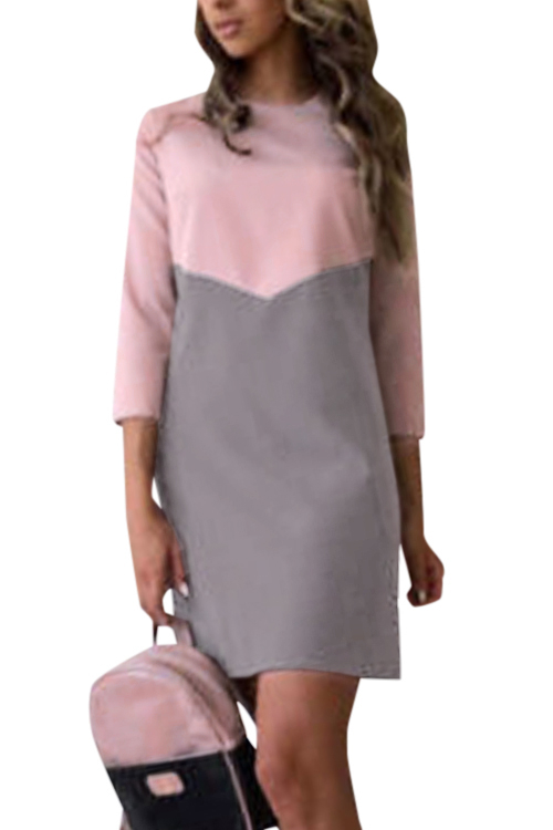 Gray And Pink Splicing Casual T-shirt Dress