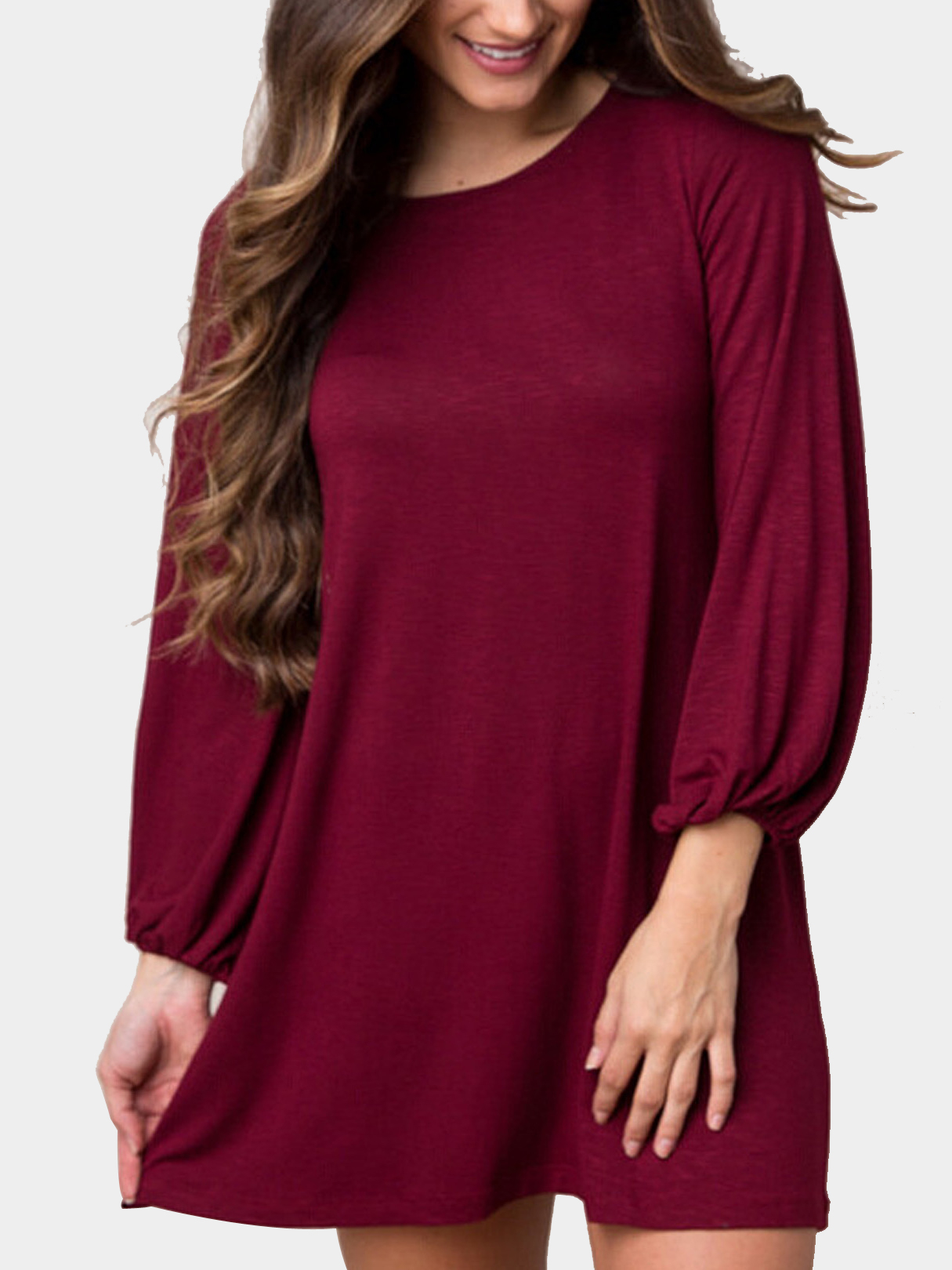 Burgundy Lantern Sleeves Mini Dress