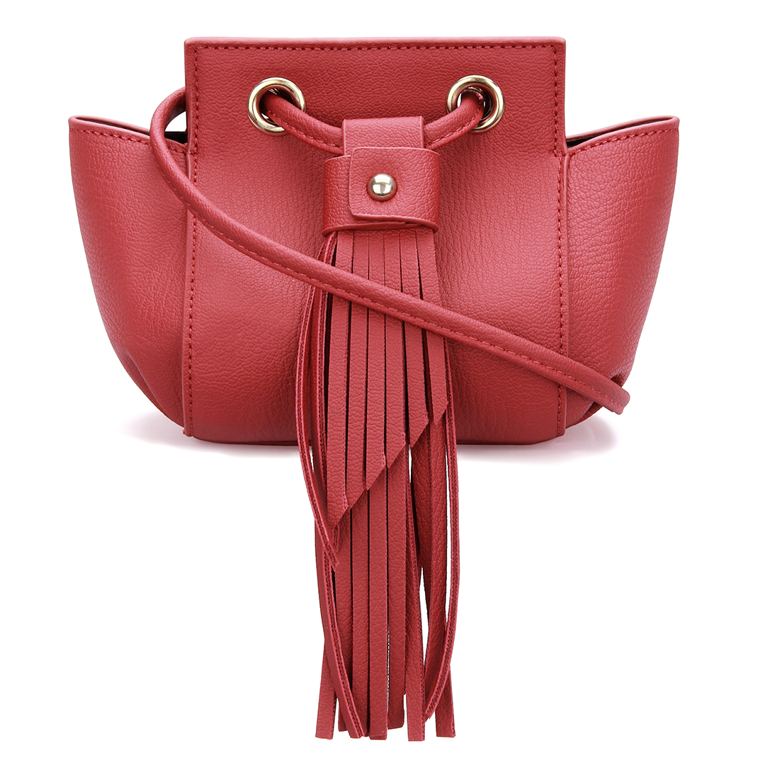 Mini Cross Body Bag in Red with Tassels