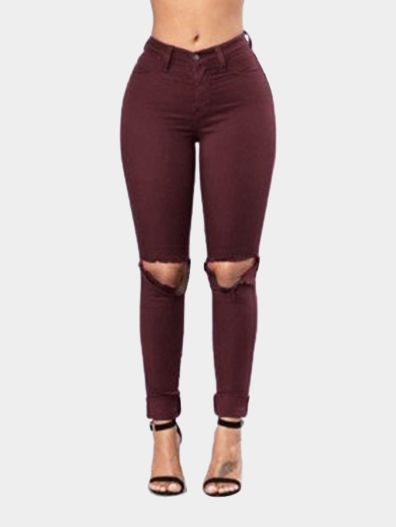 Burgundy Bodycon High Waist Pencil Trousers with Ripped Details