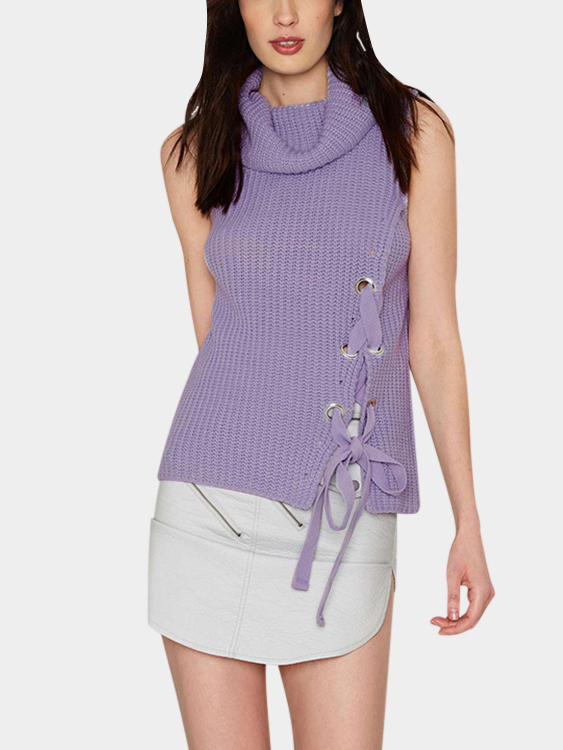 Purple Knitted Chimney Collar Lacp-up Front Design Sleeveless Sweater