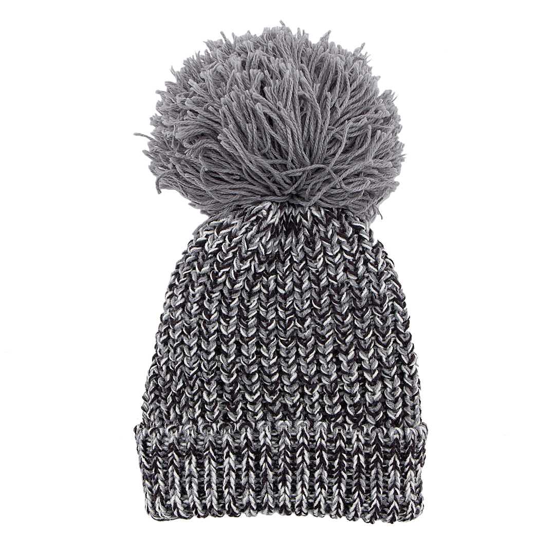 Grey Beanie Hat with Fur Pom Pom