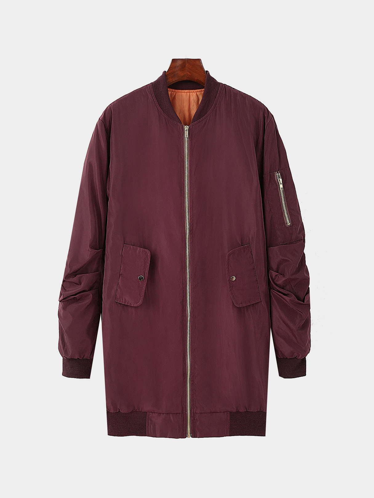 Burgundy longline front zip quilted jacket
