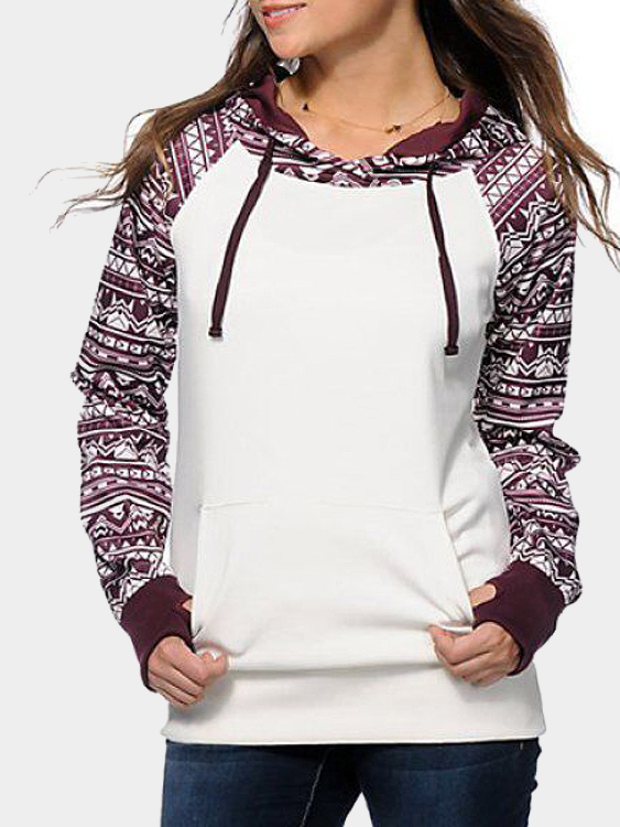 White Random Floral Print Hooded Strappy Front Sweatshirt