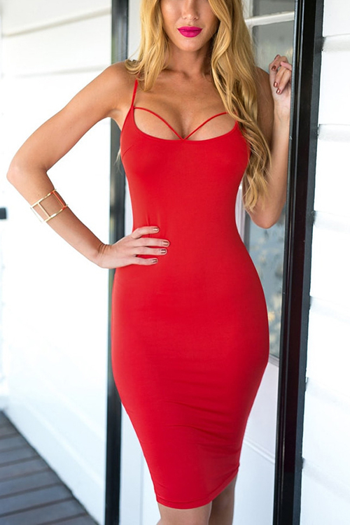 Red Bodycon Sexy Sleeveless Open Back Midi Dress