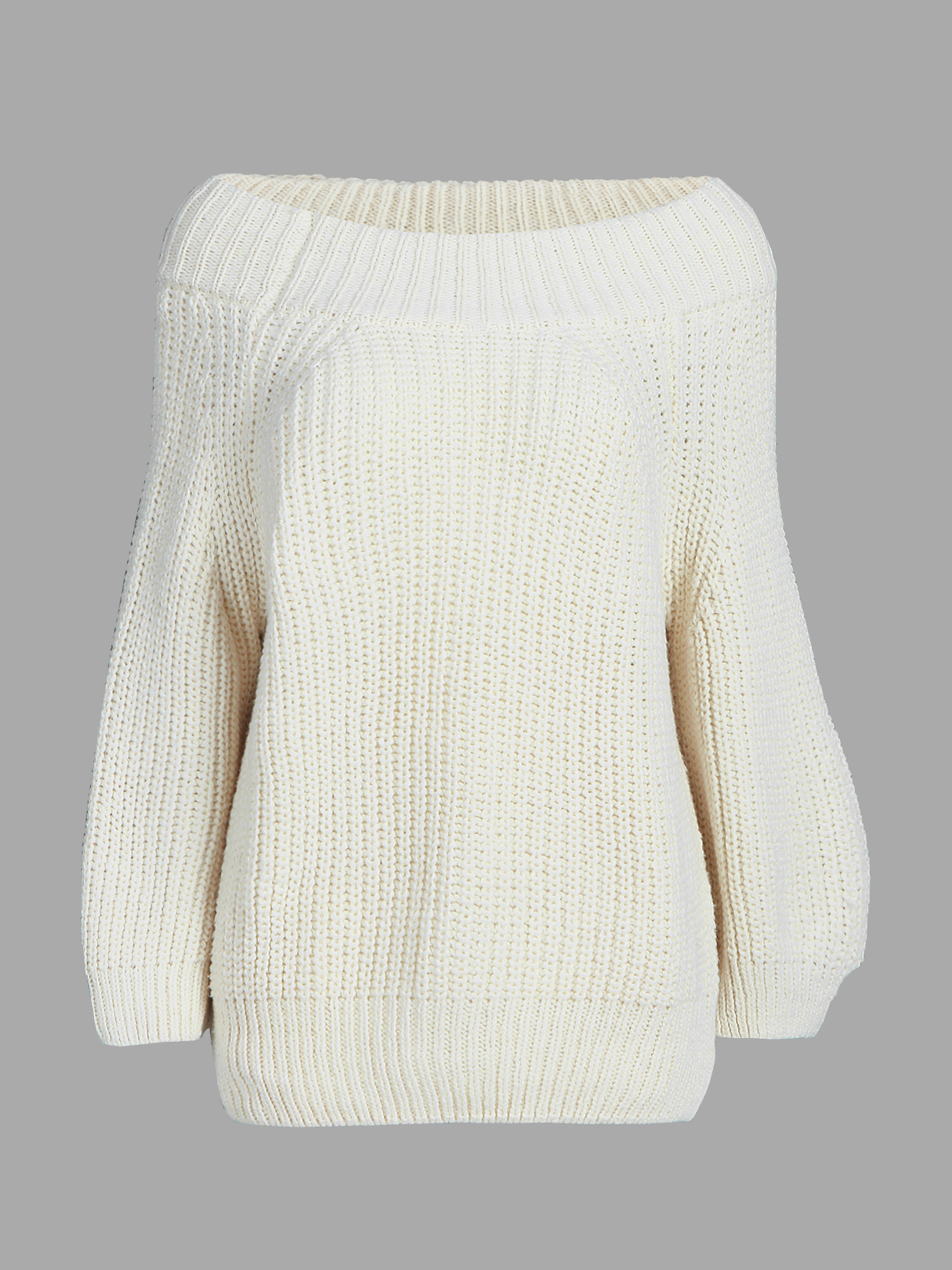 Classic White Off Shoulder Long Sleeves Knit Sweater