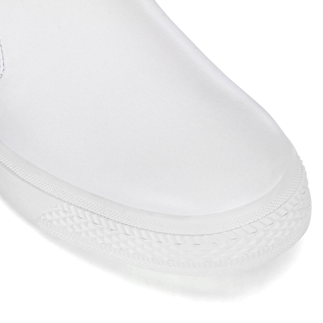 White Leather Look Round Toe Slip-on Casual Loafers от Yoins.com INT
