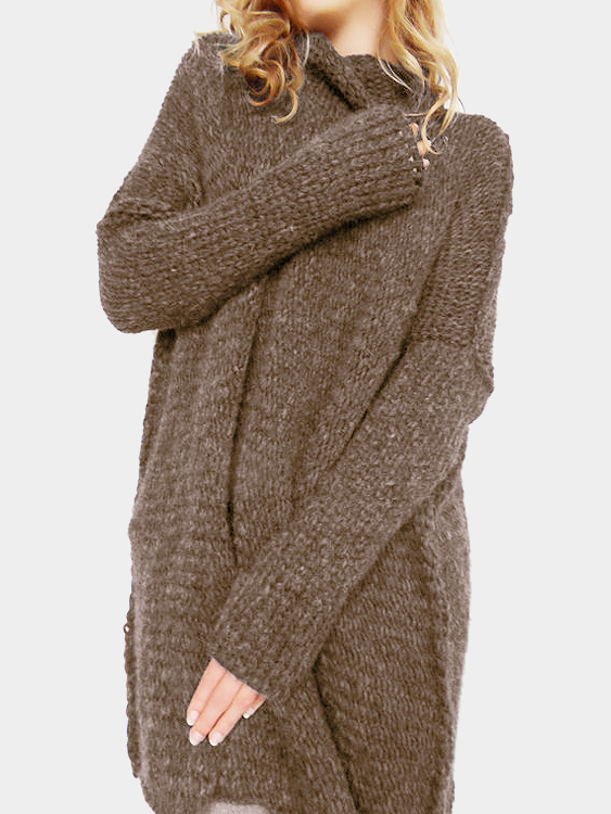 Coffee High Neck Pullover Loose Jumper