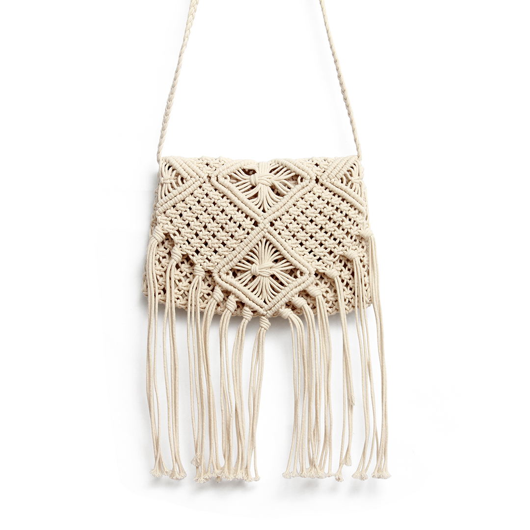 Beach Crochet Knotted Fringed Crossbody in Beige