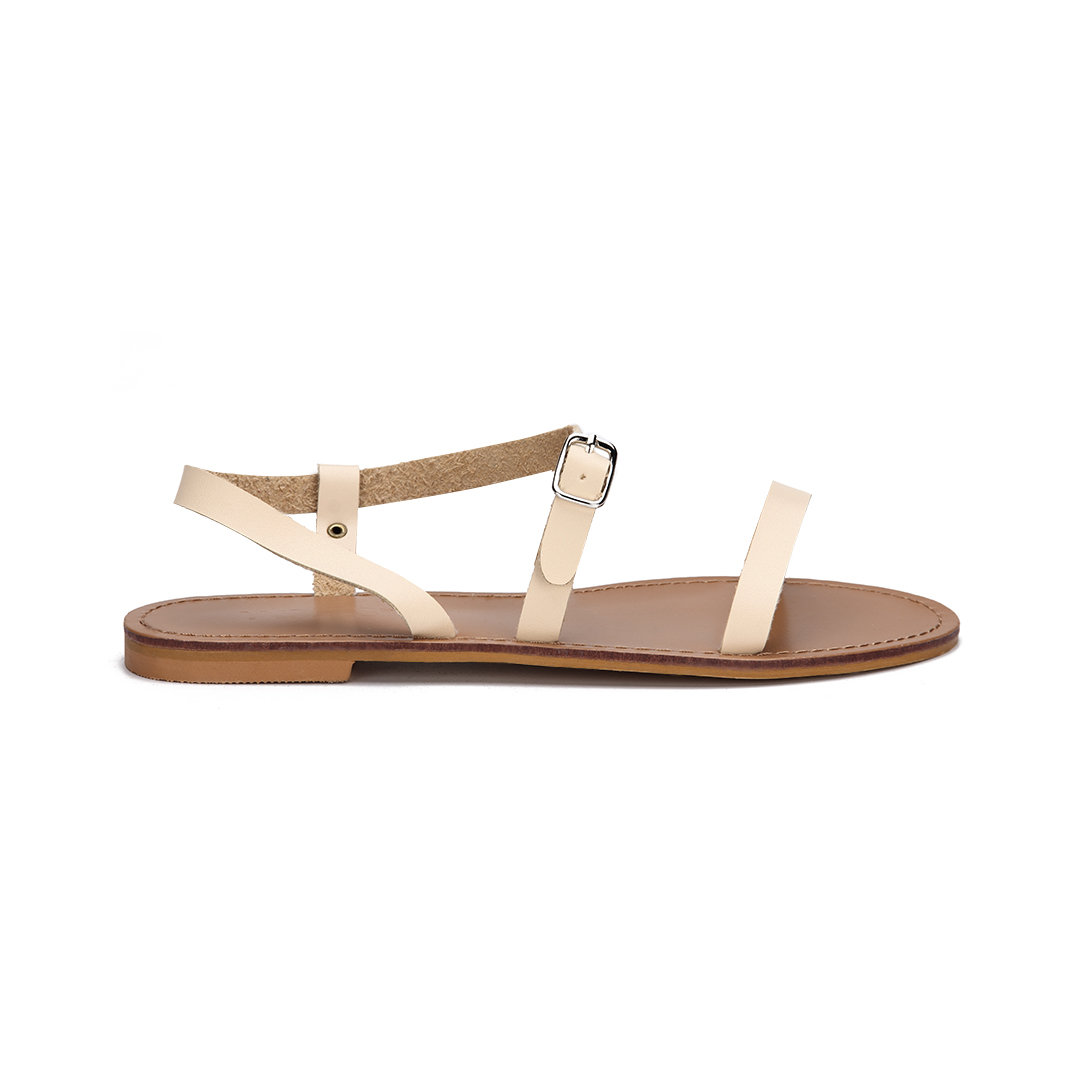 Apricot Pin Buckle Strap Open Toe Simple Slip-on Style Sandals