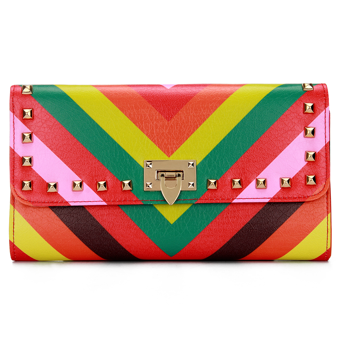 Bold Stripe Studded Foldover Leather-look Clutch Bag