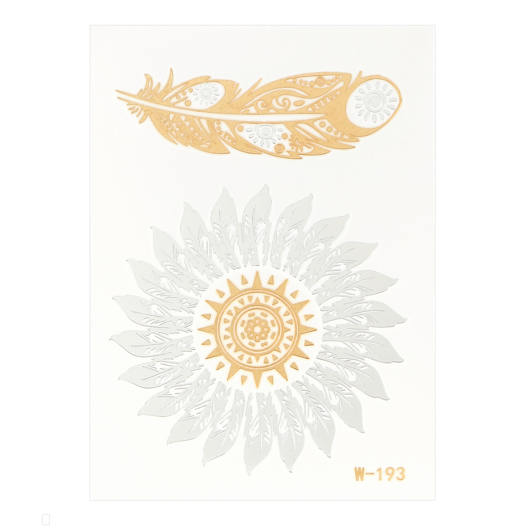 Feather Metallic Temporary Body Tattoo Sticker
