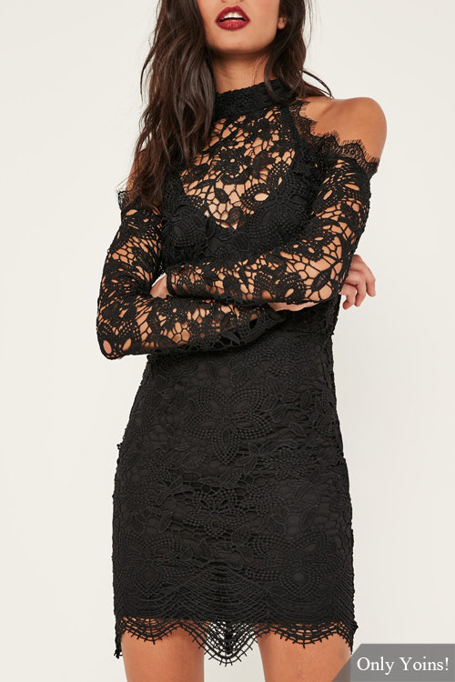 Black sexy crew neck cold shoulder lace dress...