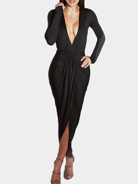 Black Sexy V-neck High Waist Irregular Hem Maxi Dress
