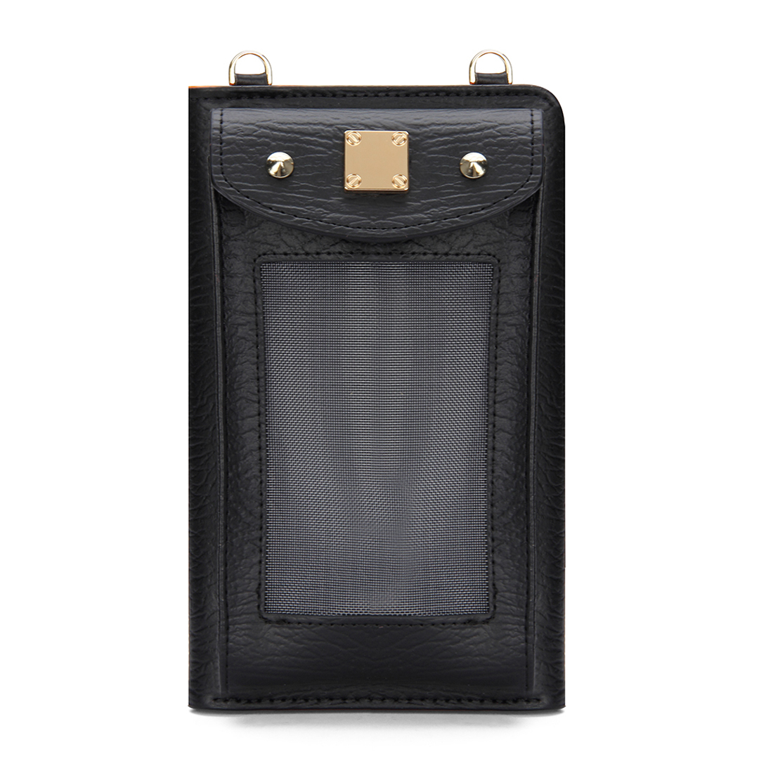 Foldover Leather-look  Zip Around Mobile Purse in Black