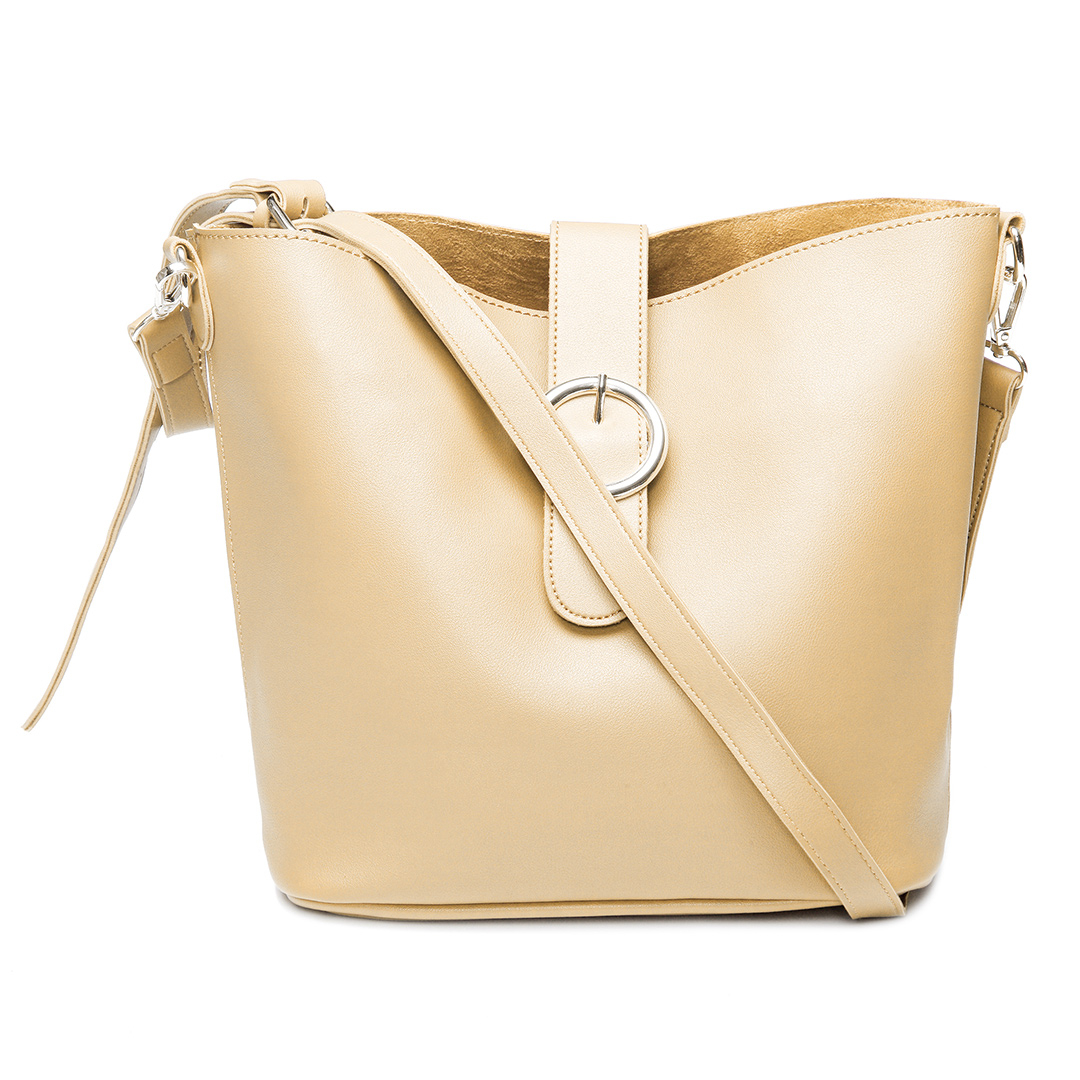 Khaki Buckle Design Bucket Bag with Small Clutch Bag