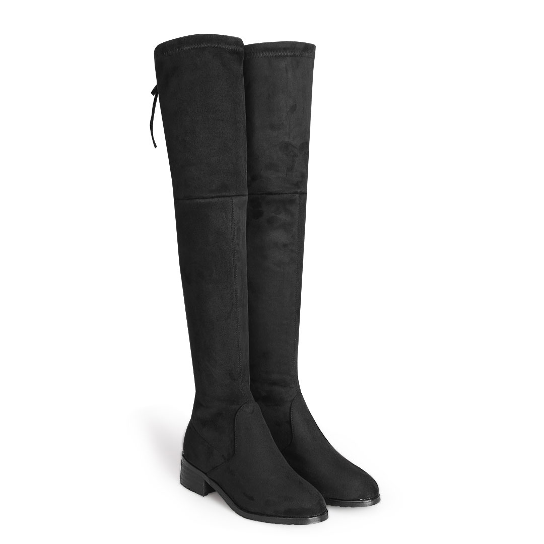 suede the knee tie back flat boots us 55 95 yoins