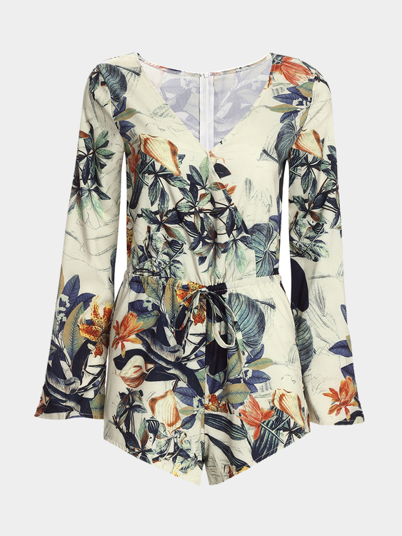 Sexy Random Floral Print Bat Sleeves Playsuit