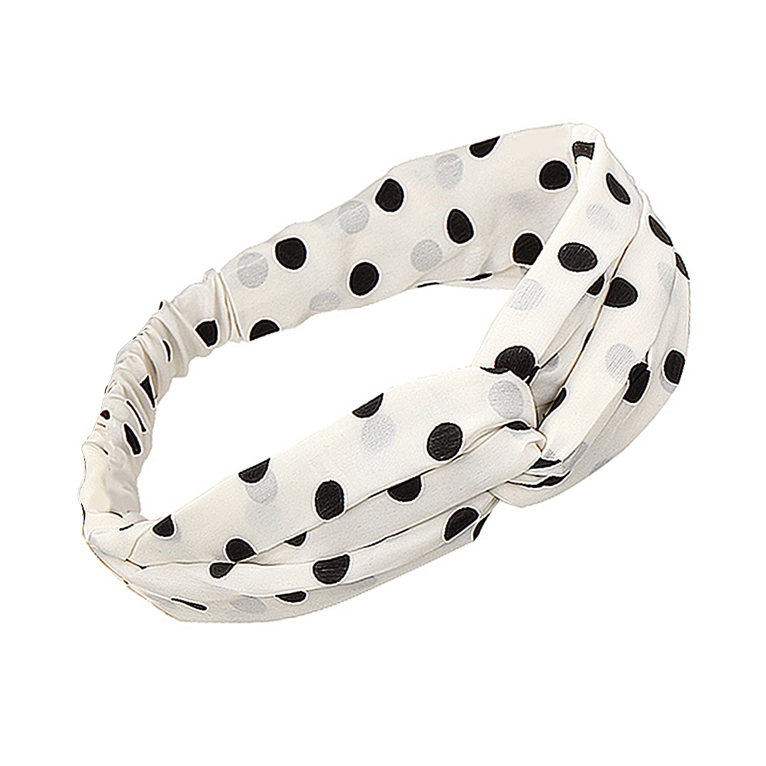 Boho Twisted Polka Dot Headband in White