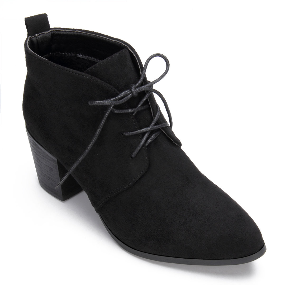 Black Laceup Pointed Toe Chunky Heels Ankle Boots