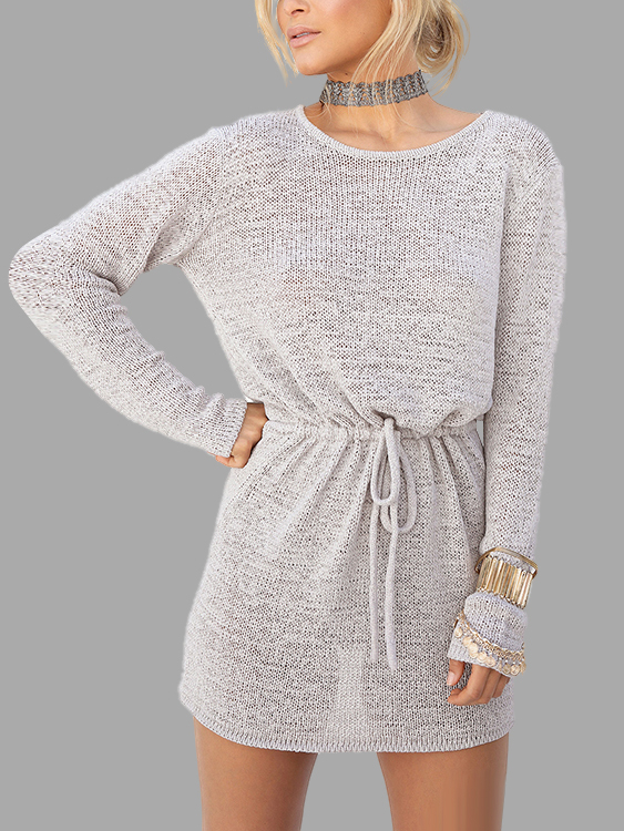 Grey Open Back Drawstring Waist Knit Mini Dress Dress