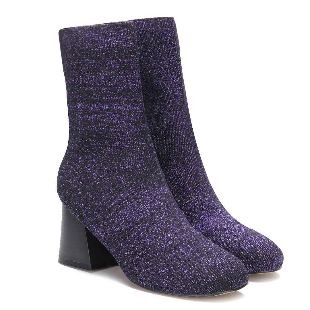 Glitter Embellished Elastic Short Boots in Purple
