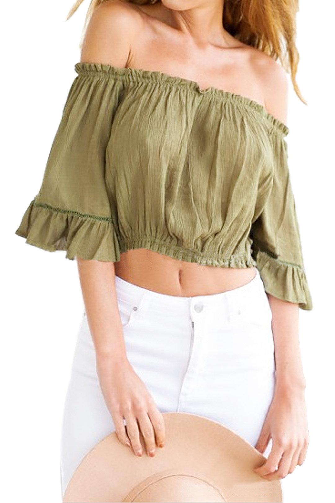 Off Shoulder Top With Bell Sleeves