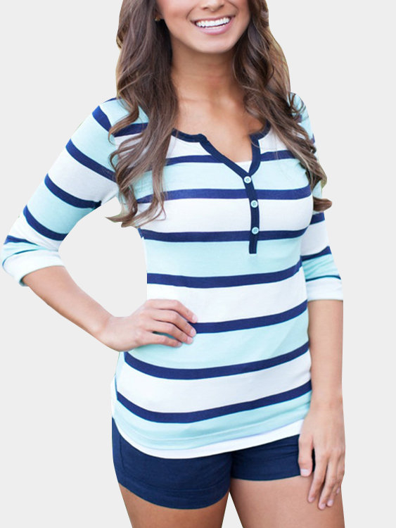 Button Design Stripe Causal Shirt