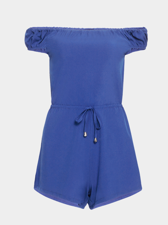 Blue Sexy Off-shoulder Self-tie Playsuit
