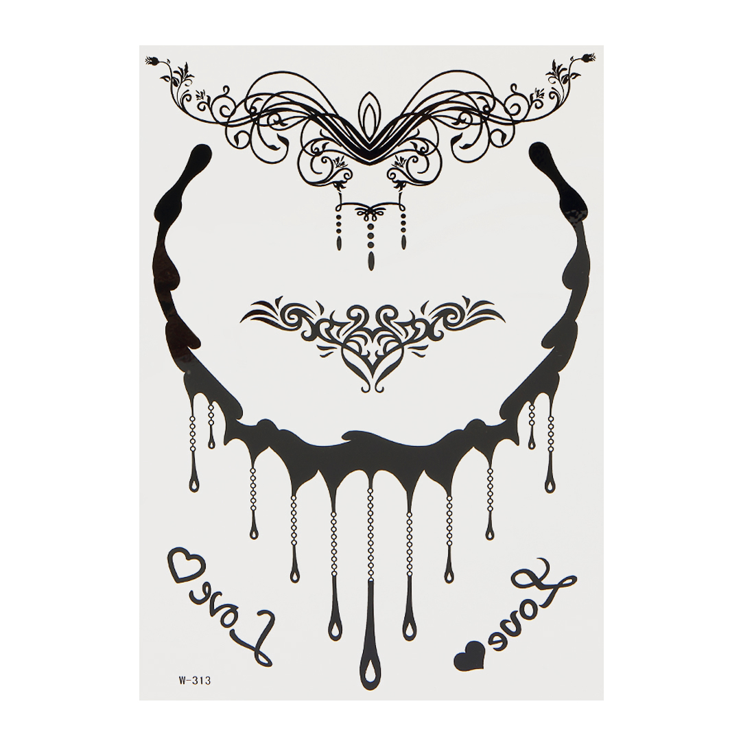 Henna Black Necklace Temporary Body Tattoo Sticker