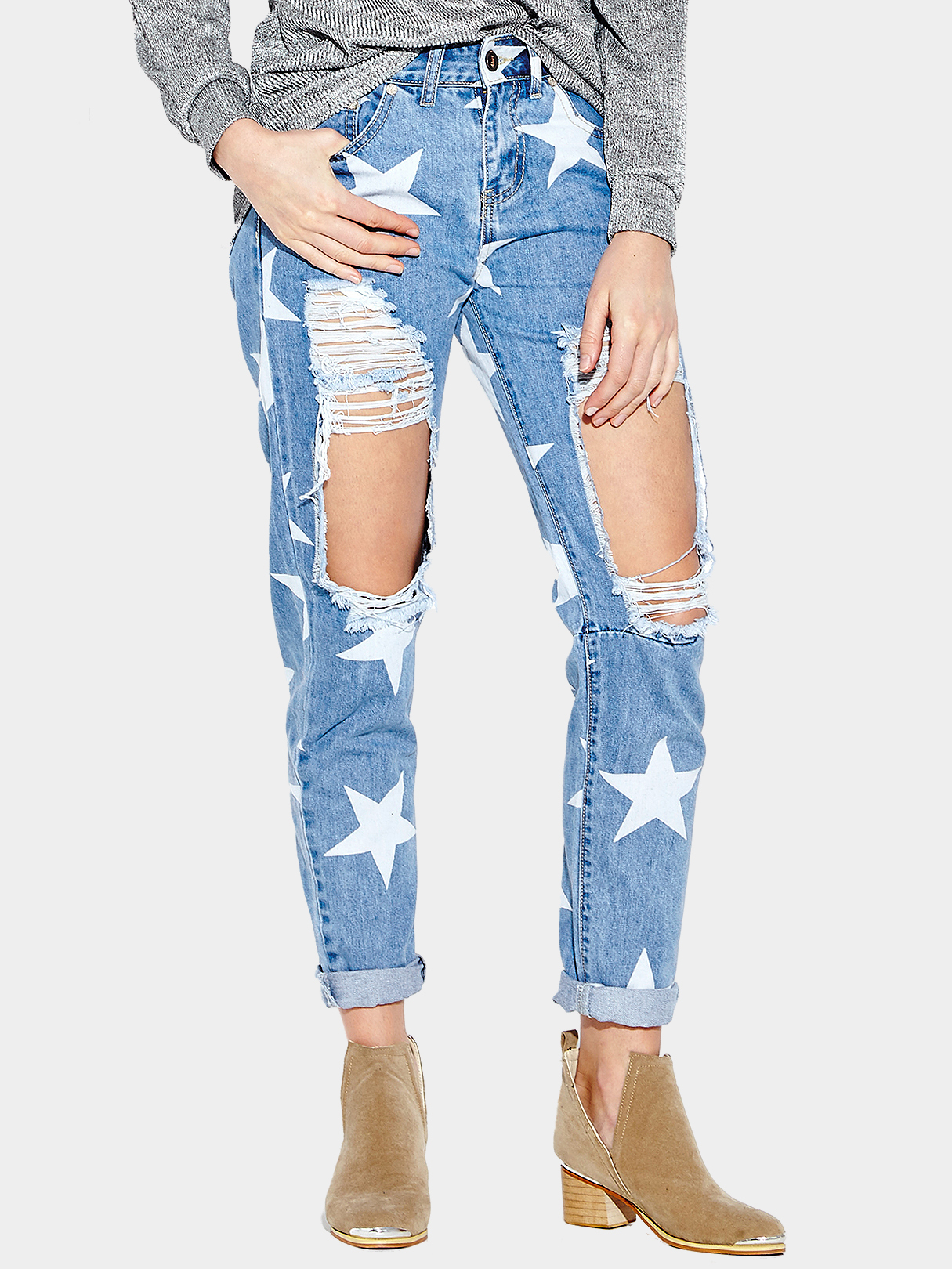 Star Print Boyfriend Jeans With Extreme Ripped Knees