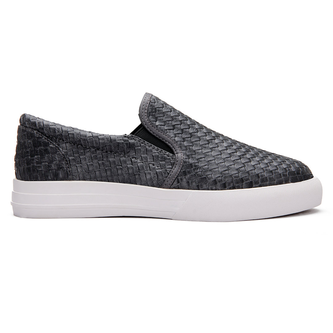 Grey Casual Woven Leather Look Slip-on Loafers