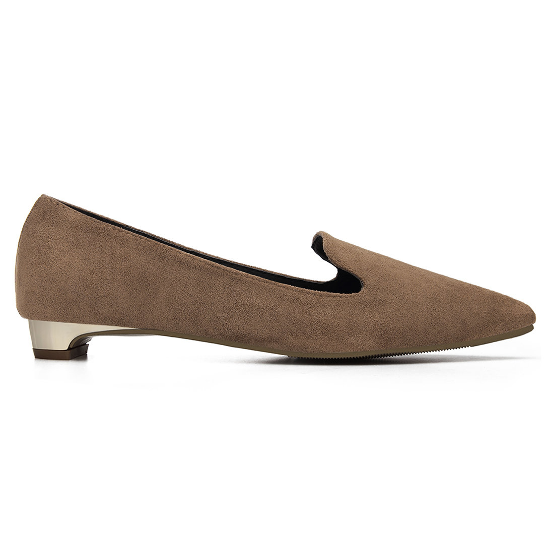 Coffee Suede Pointed Toe Slip-on Flat Shoes