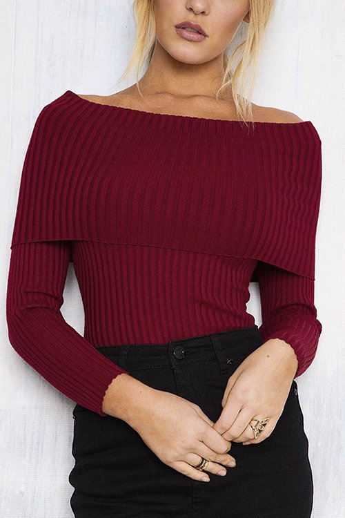 Red Sexy Off Shoulder Long Sleeves Jumper