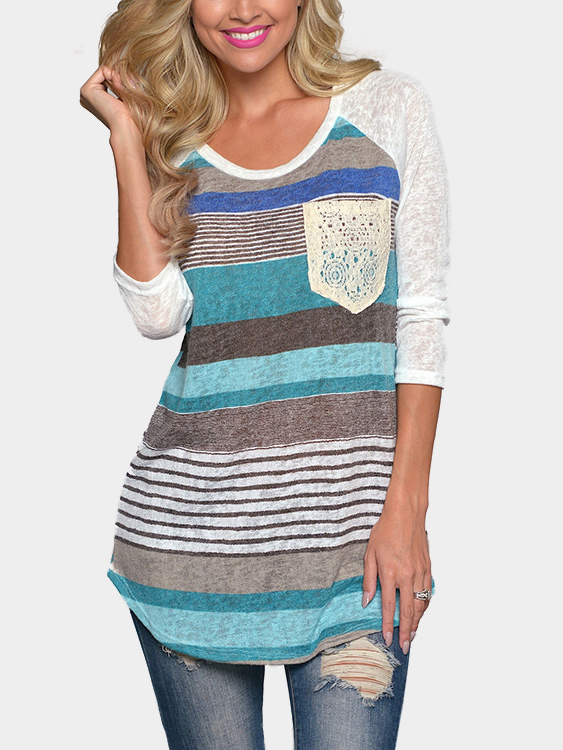 Blue Random Color Block Stripe T-shirt With Lace Pocket
