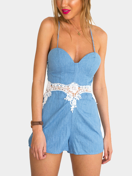 Strappy Playsuit with Lace Details