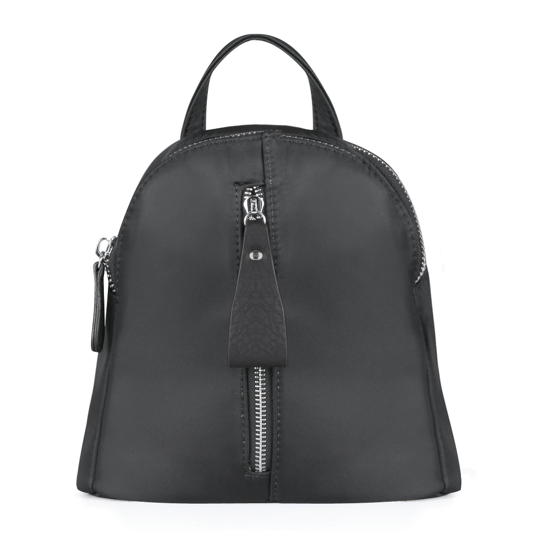 Grey Mini Backpack with Front Zipper Pocket