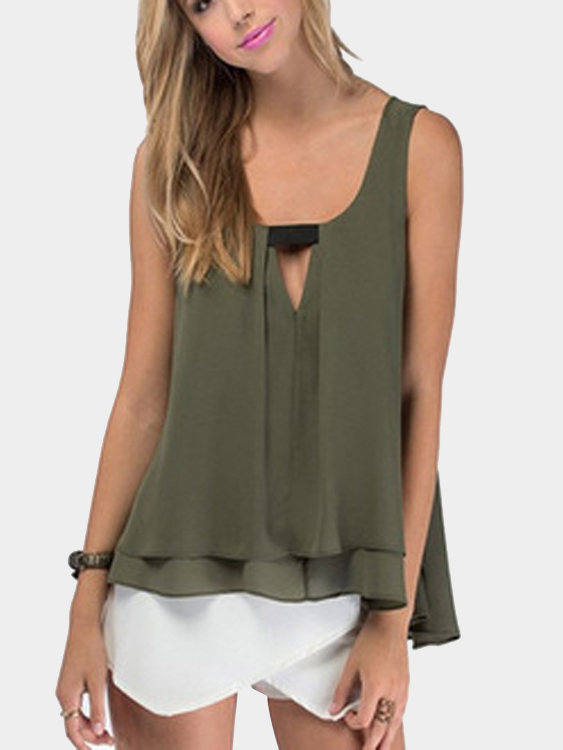 Army Green Keyhole Front Layered Vest