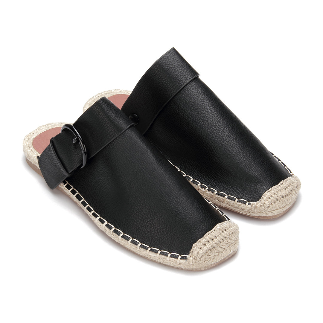Black Leather Look Pin Buckle Woven Shoes