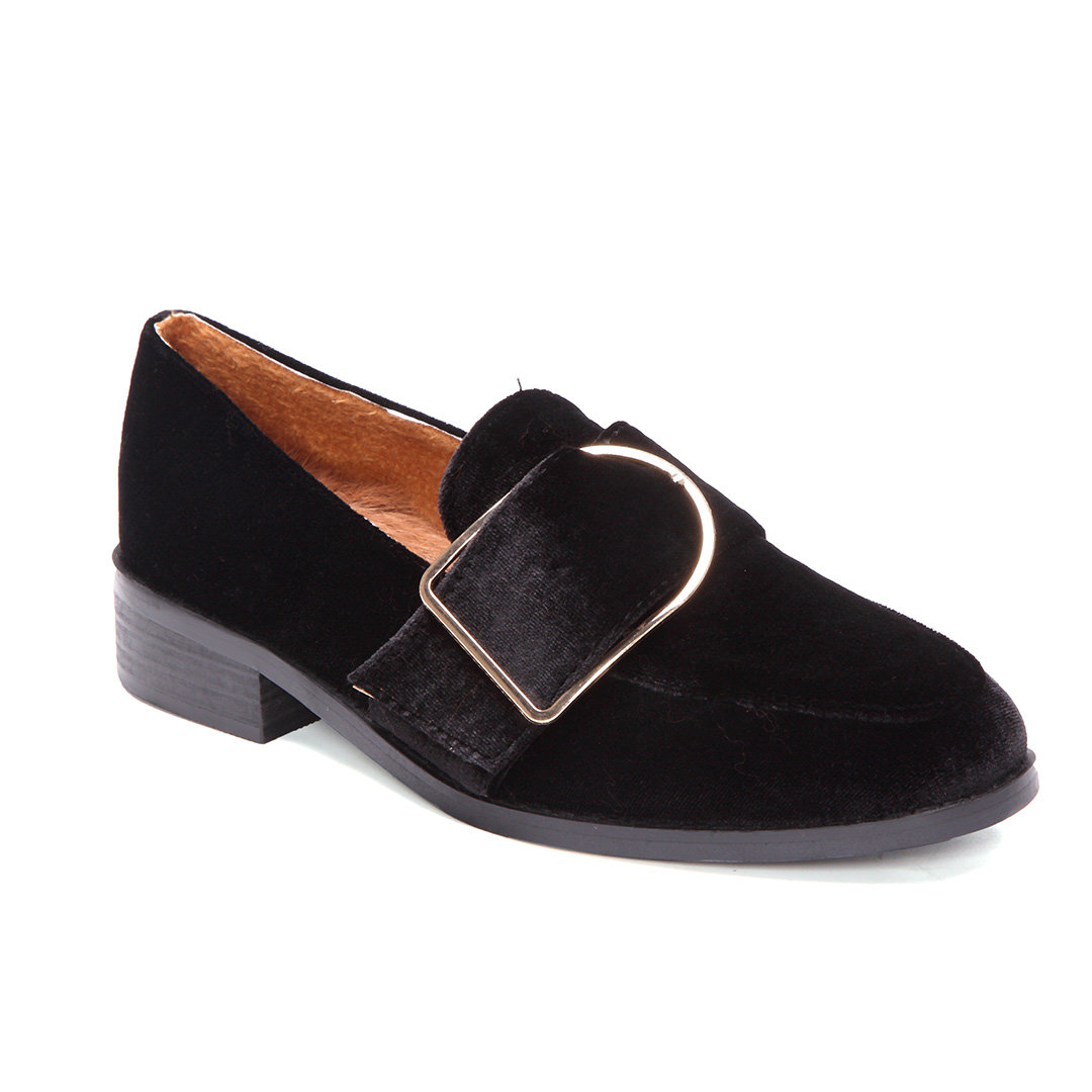 Black Velvet Loafers with Buckle Design