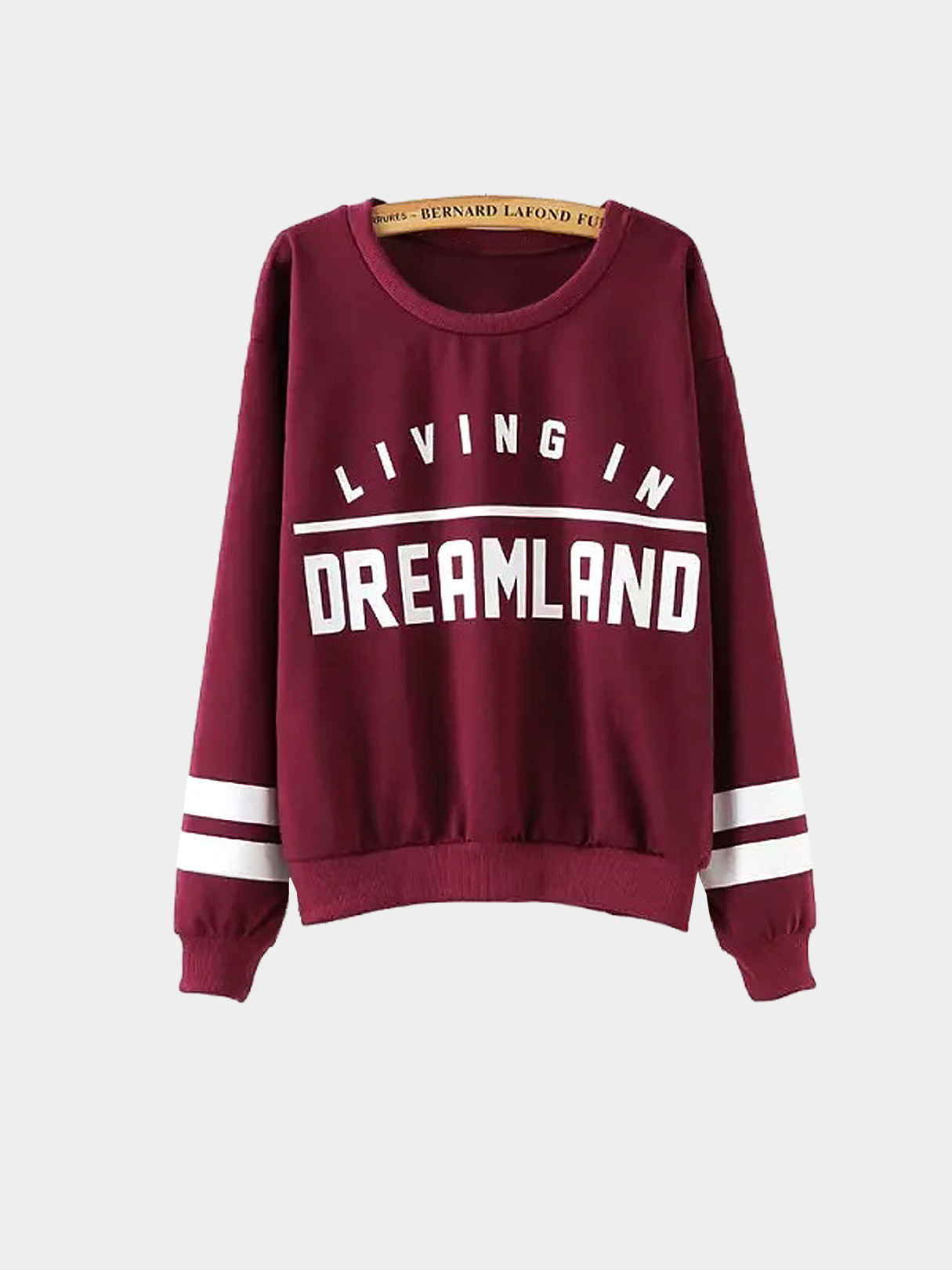 Graphic Print Stripe Sleeve Sweatshirt in Burgundy