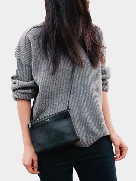 Grey Knitted Crew Neck Pullover Sweater
