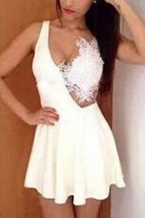 White Stitching Lace Backless Flounced Hem Vest Dress