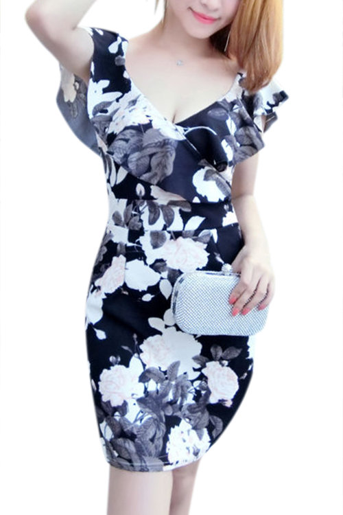 Black Sexy Floral Print Pattern Bodycon Cami Dress