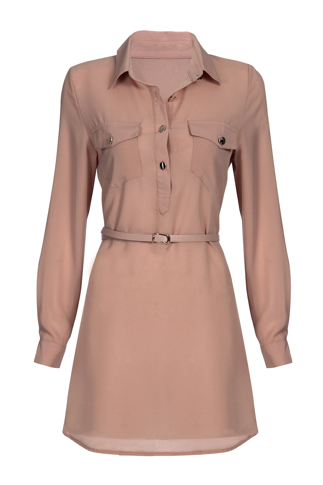 Fashion Long Sleeves Shirt Mini Dress with Belt