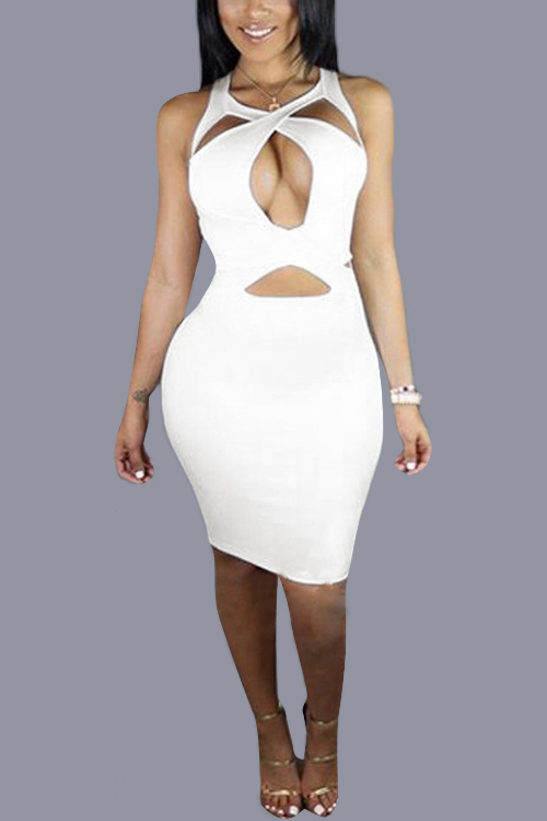White Cross Back Sleeveless Bodycon Halter Dress